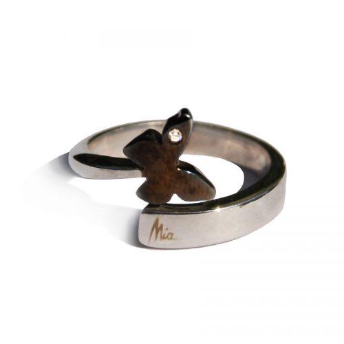 miss-mia-anello-argento-farfalla-satinata-nera